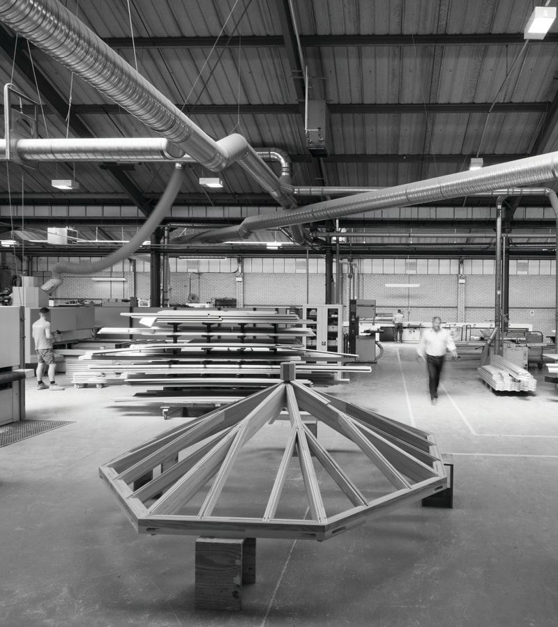 Westbury factory showing roof lantern construction
