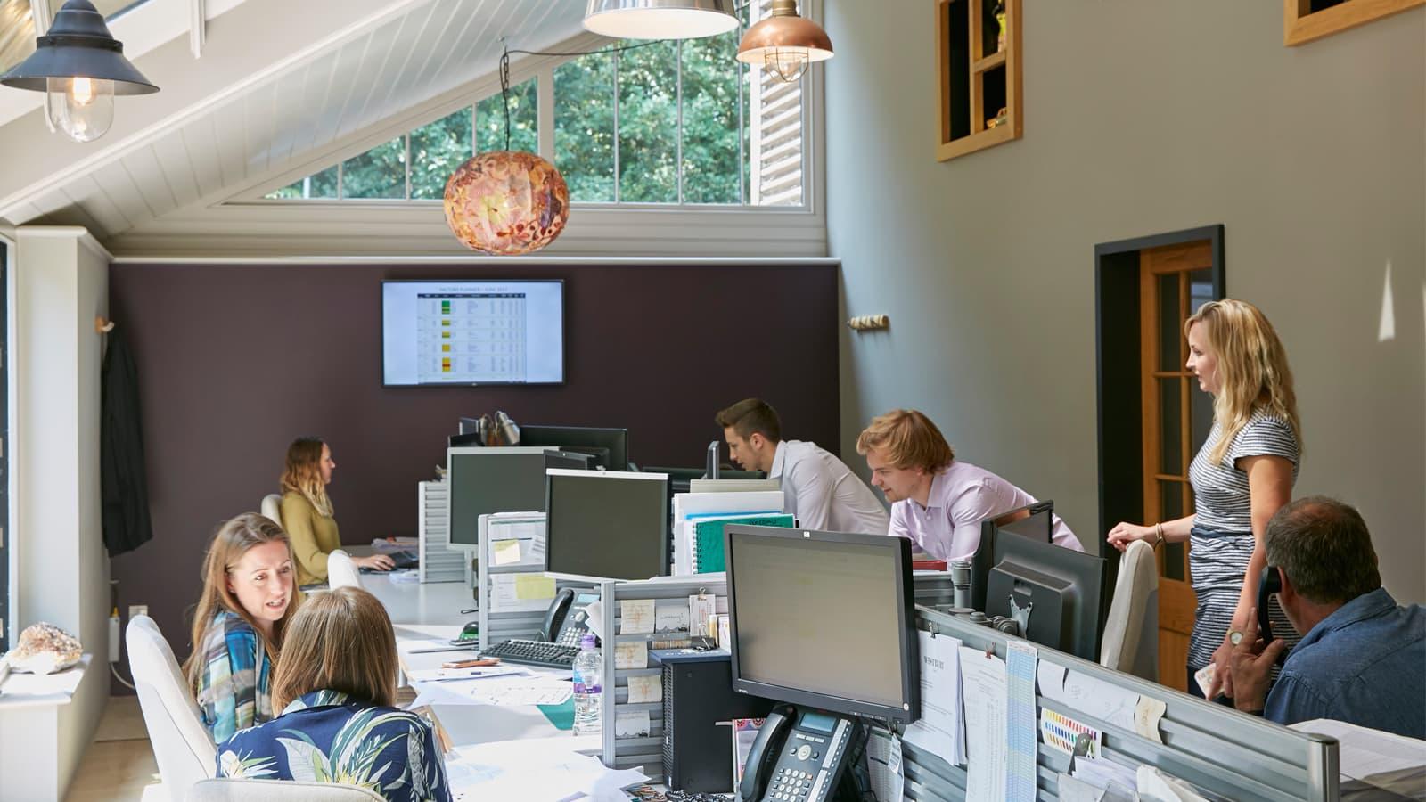 Westbury office garden room filled with staff