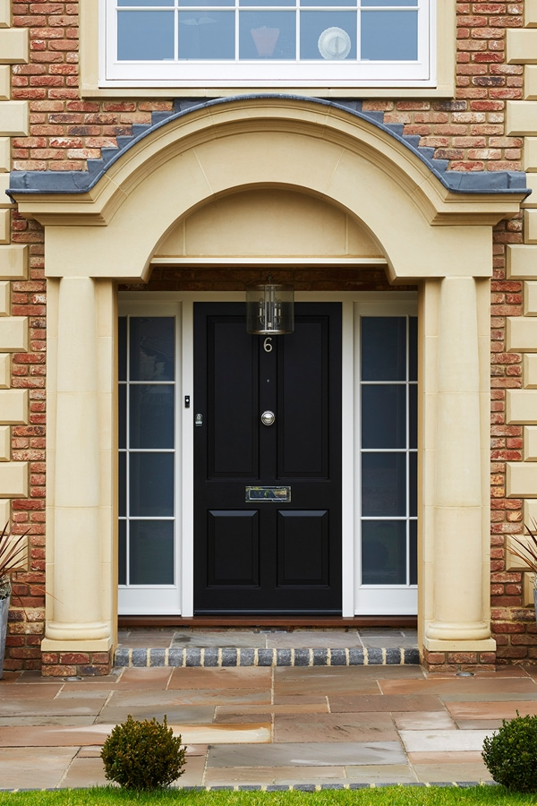 4 panel front door painted Westbury Black