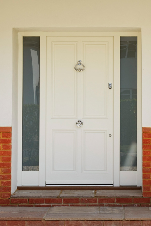 4 panel front door painted Westbury White
