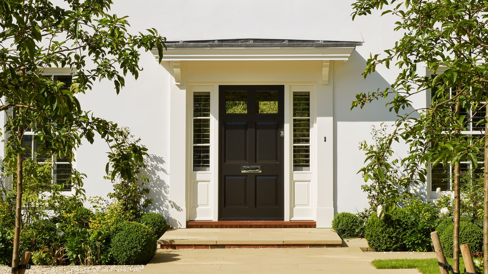 6-panel entrance door and sidelights