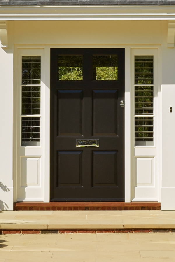 6 panel entrance door with top glazed panels in Westbury black