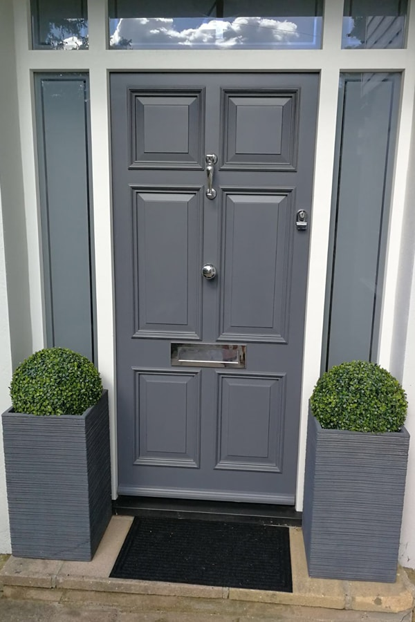 6 panel front door painted Slate