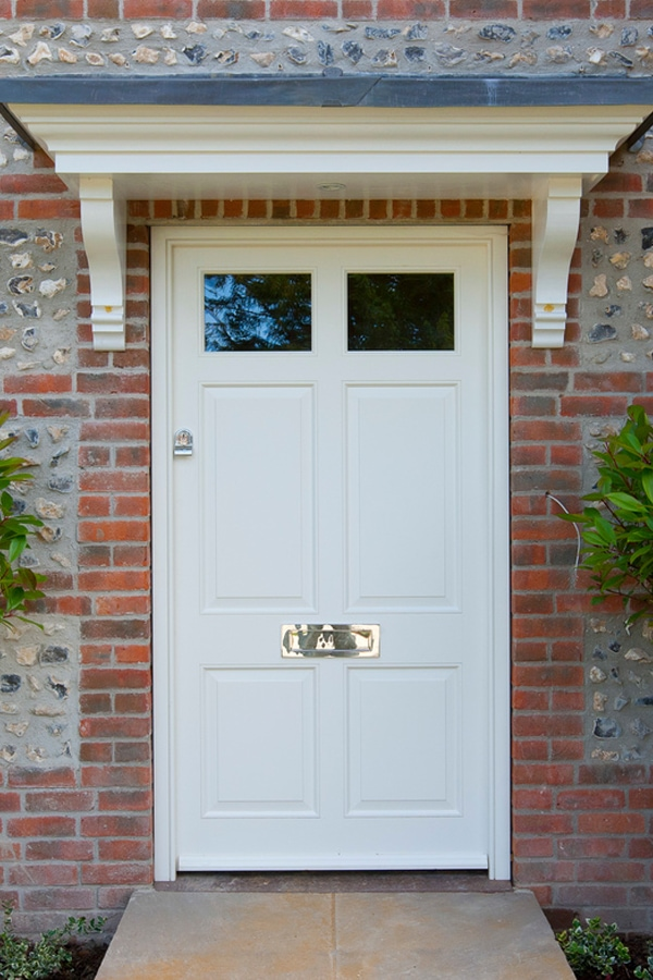 6 panel front door with top glazed panels in Westbry White