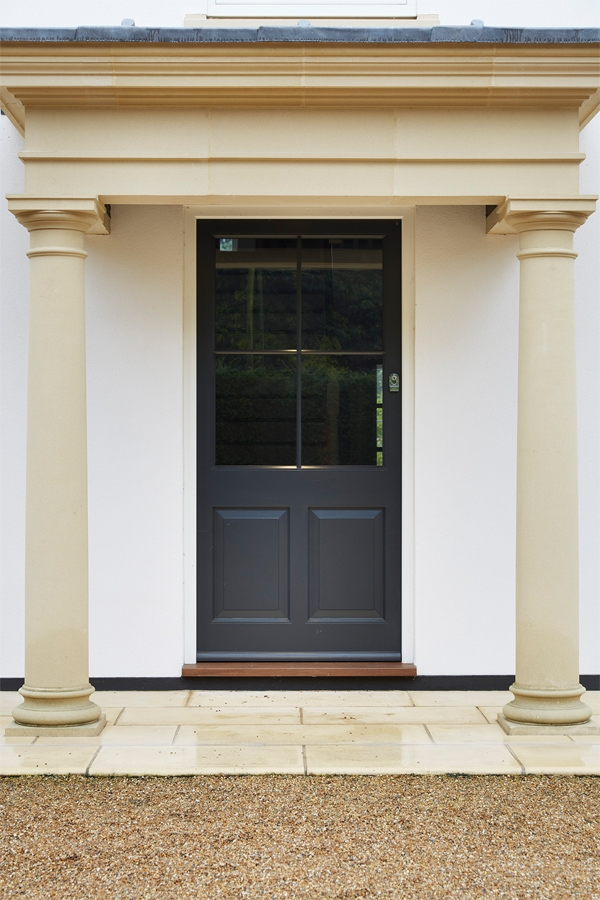 6 panel glazed entrance door painted grey