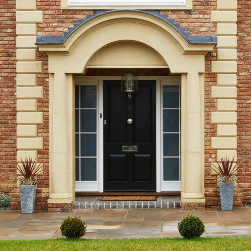 Black entrance door with sidelights