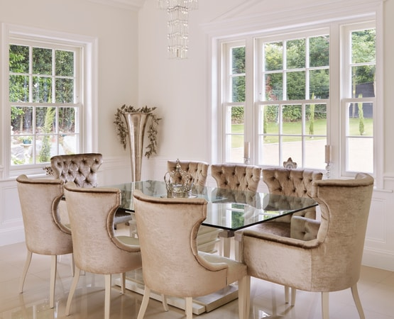 Dining area with standard spring balanced sash windows painted Westbury White