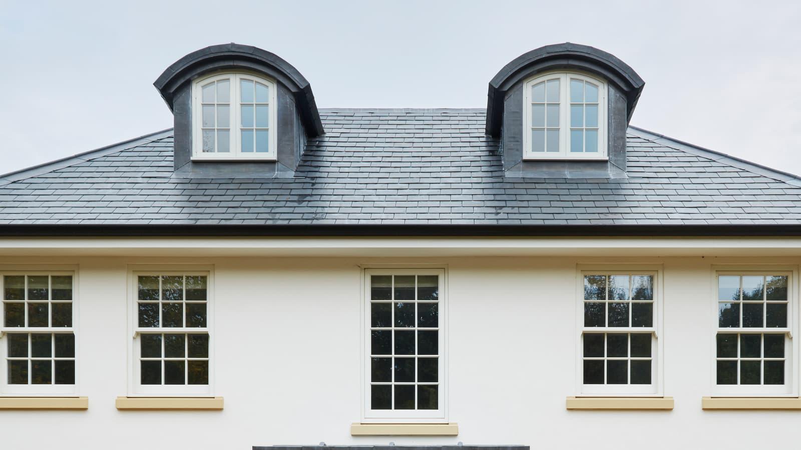 Dormer windows in roof of property