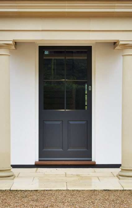 Entrance door painted in Westbury Black