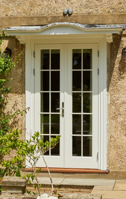 French doors to the rear of the property