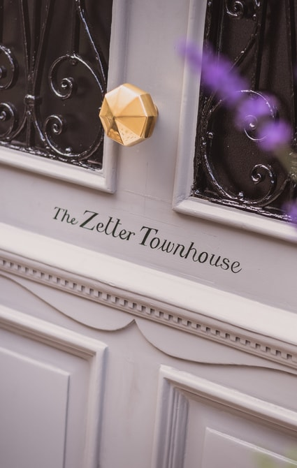 Front door of boutique hotel The Zetter Townhouse.