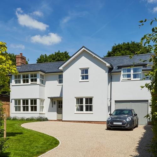 New build house with standard spring balanced sash windows