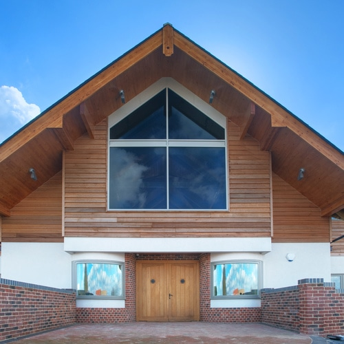 New build property with contemporary casement windows