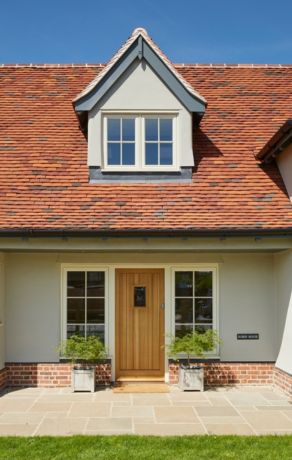V-grooved engineered and Insulated Oak Panelled Entrance Door