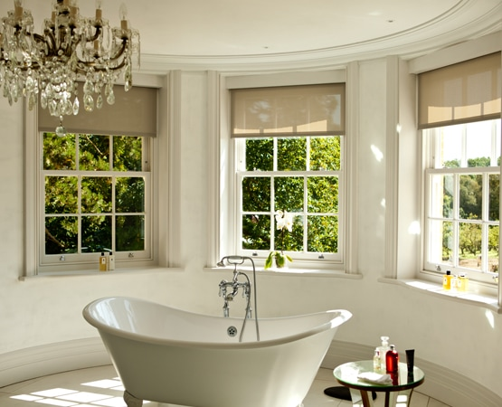 View of sliding sash windows from inside grand bathroom