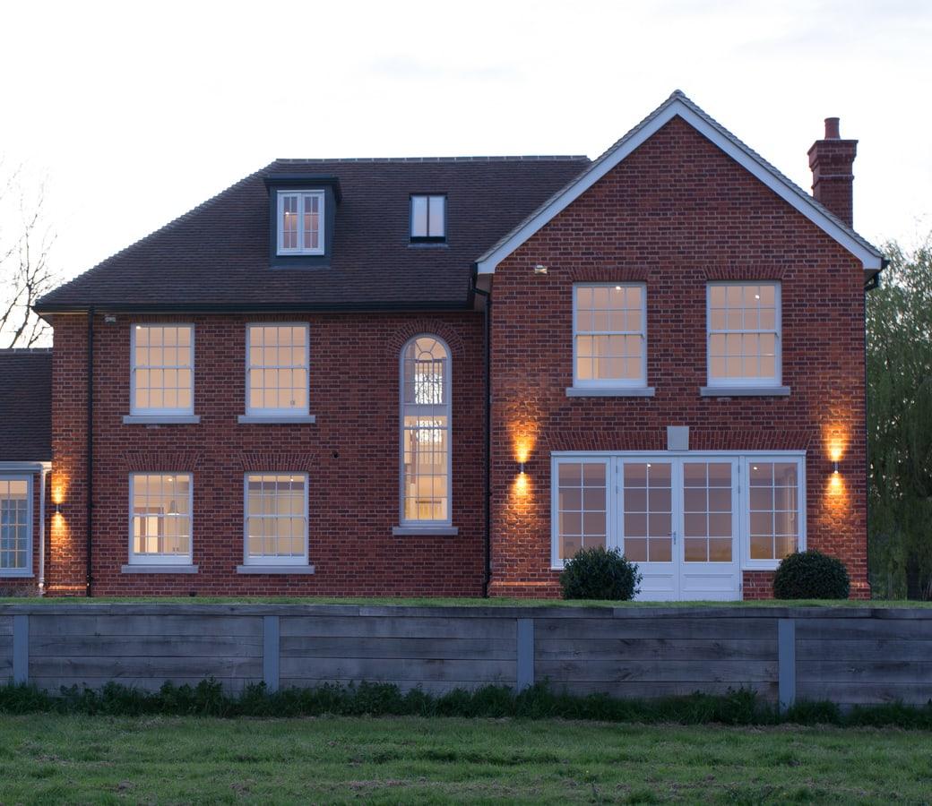 New build property with traditional timber windows - box sash style