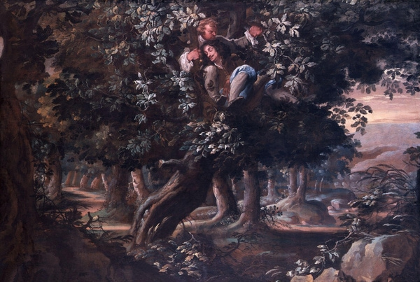 Charles II hiding in an oak tree from the roundheads