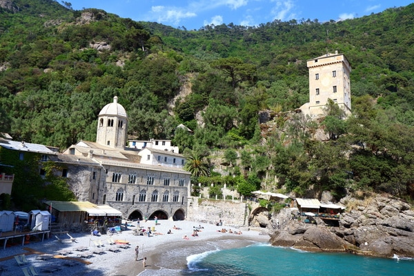The medieval abbey in San Fruttuoso, Portofino that has sunk into the sands