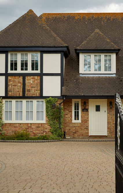 Casement windows and doors installation - painted Westbury Birch
