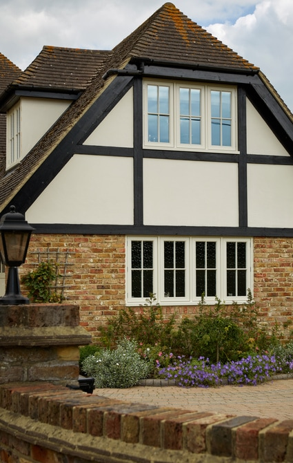 Traditional four pane casement windows
