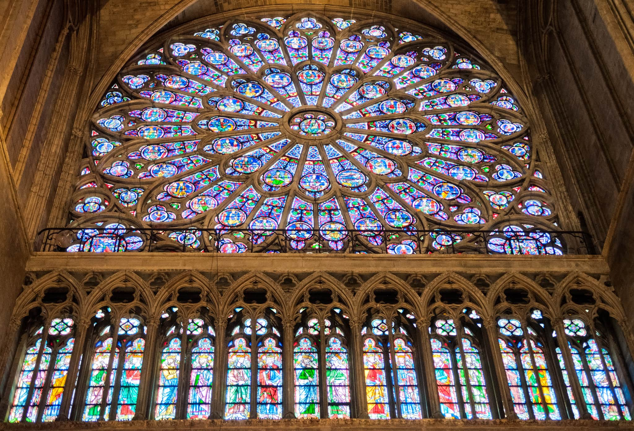 Famous windows - The beautiful south rose window at Notre Dame