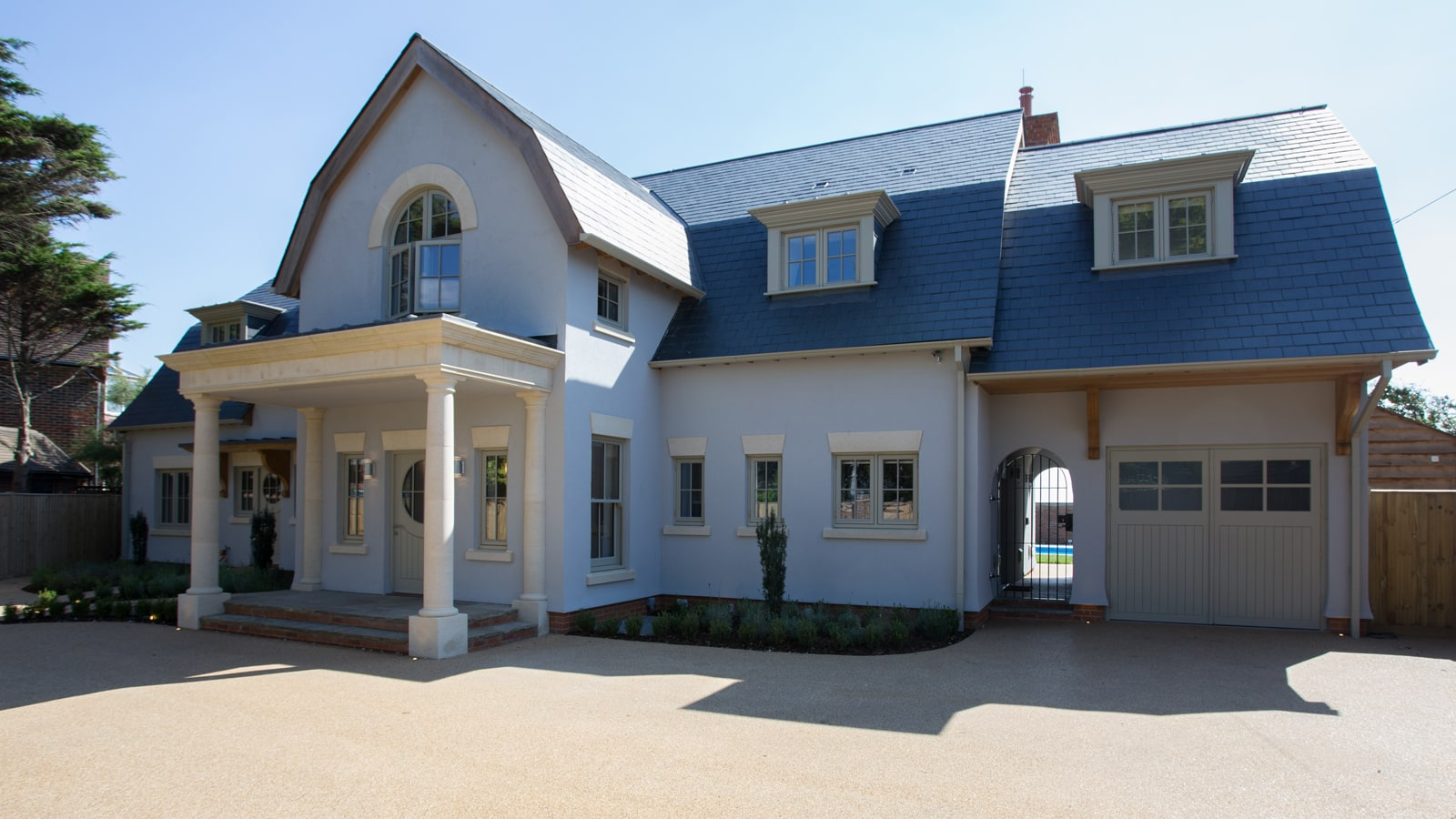 large new build house casement windows entrance doors