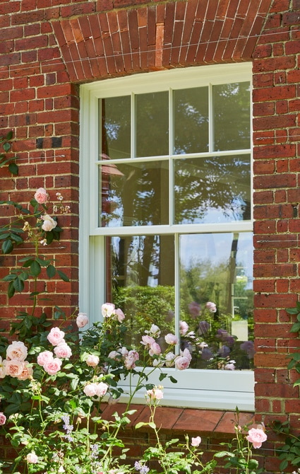 A white sash window