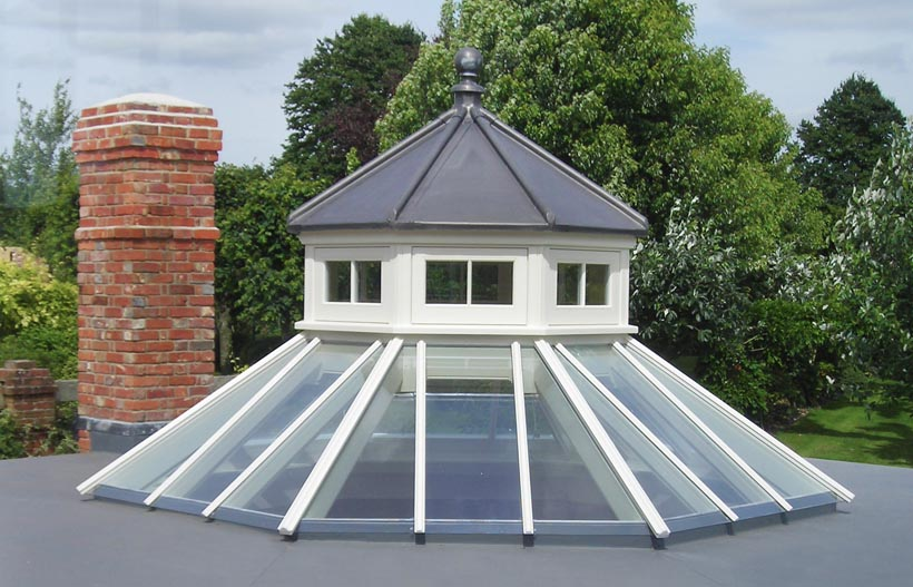 An example of a modern day roof lantern designed and crafted by Westbury Joinery