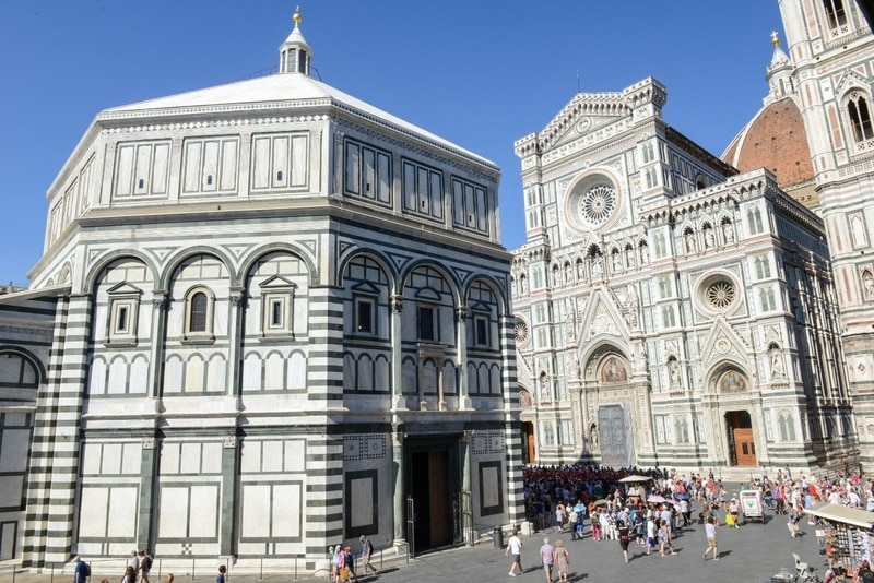 One of the oldest buildings in Florence, the Baptistery of Saint John has an octagonal lantern and cupola, which was added to the building in 1150.