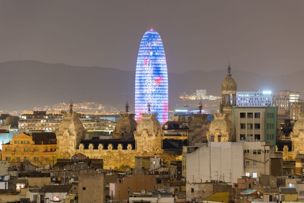Barcelona Skyline at night in Catalonia, Spain.