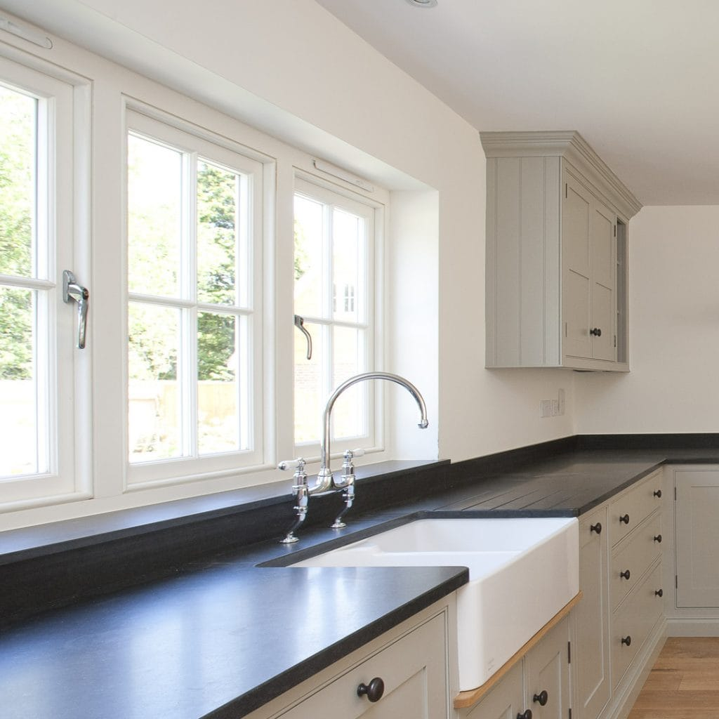 Create a peaceful kitchen environment with soundproof windows and doors