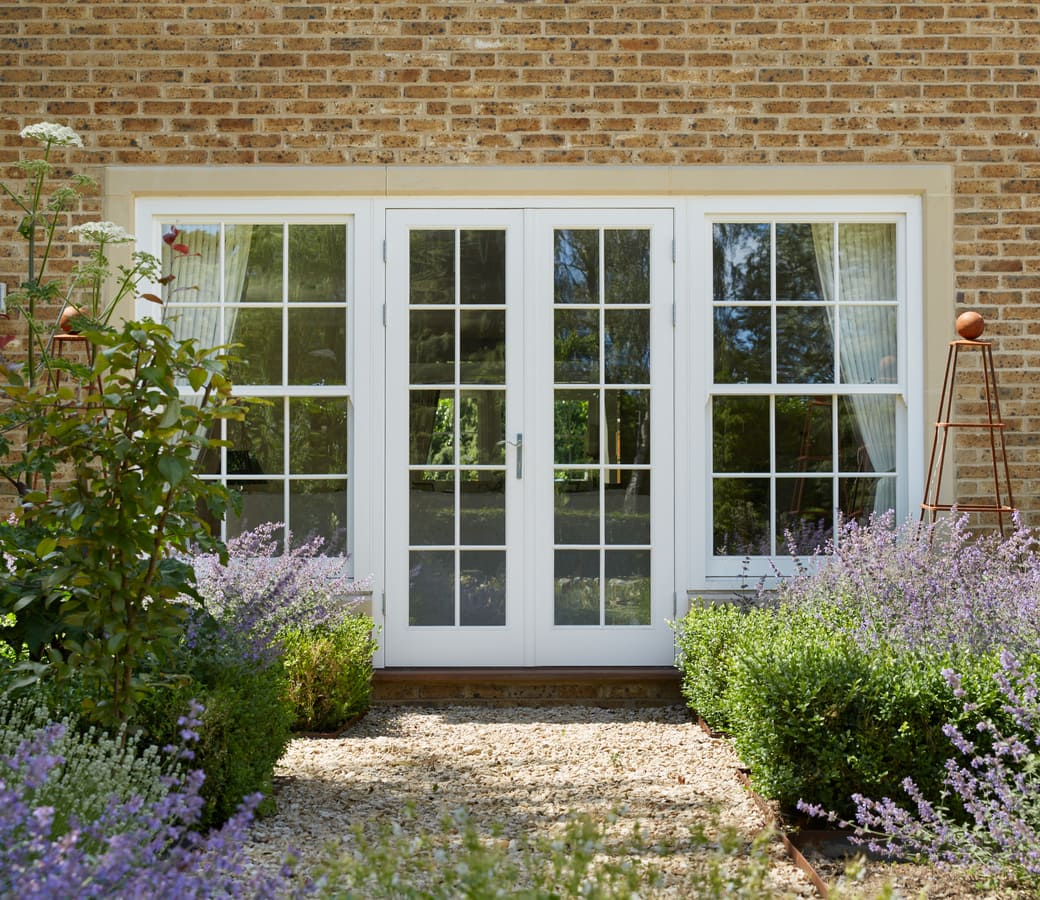 Fully opening wooden French Doors