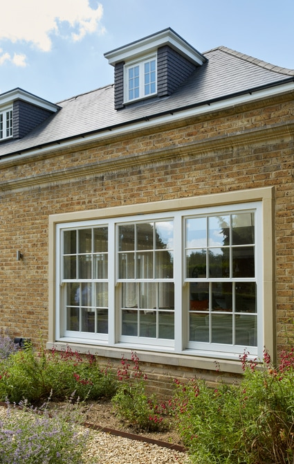 Timber sliding box sash windows with dormers