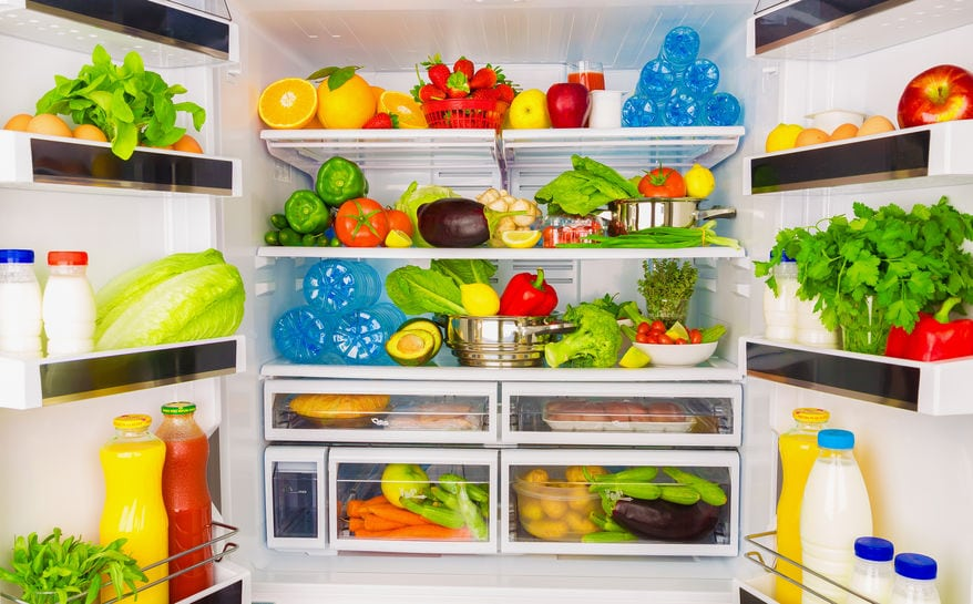 Smart gadgets - pen fridge full of fresh fruits and vegetables, healthy food background, organic nutrition, health care, dieting concept