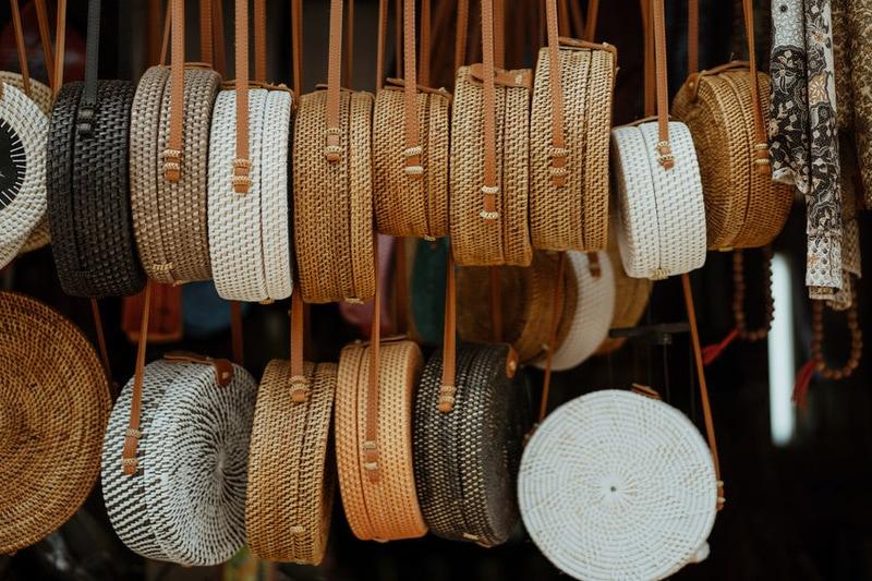 portrait of handmade wooden bag in souvenir shop